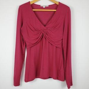 Boden Long Sleeve Purple & Pink Twist Front Top
